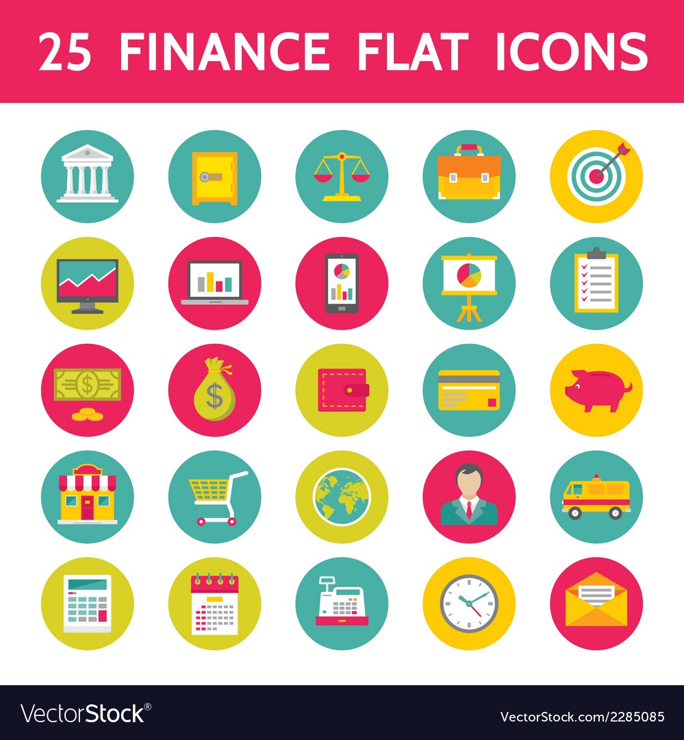 25 finance flat icons in format vector | Price: 1 Credit (USD $1)