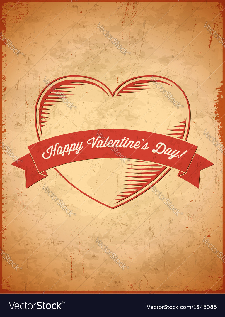 Aged vintage valentines day card with ribbon vector | Price: 1 Credit (USD $1)