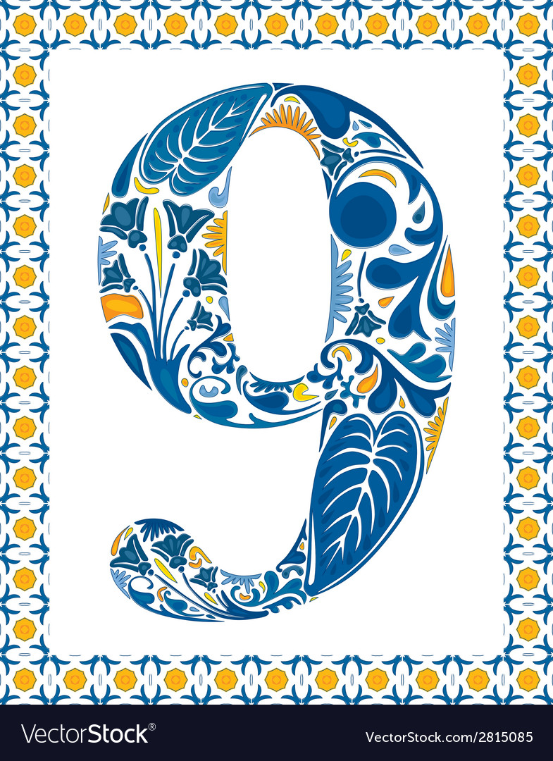 Blue number 9 vector | Price: 1 Credit (USD $1)