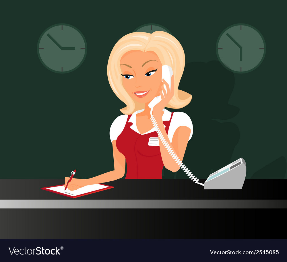 Female blond receptioonist is taking a call in the vector | Price: 1 Credit (USD $1)
