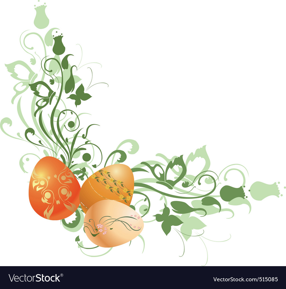 Floral frame decorated with easter eggs vector | Price: 1 Credit (USD $1)