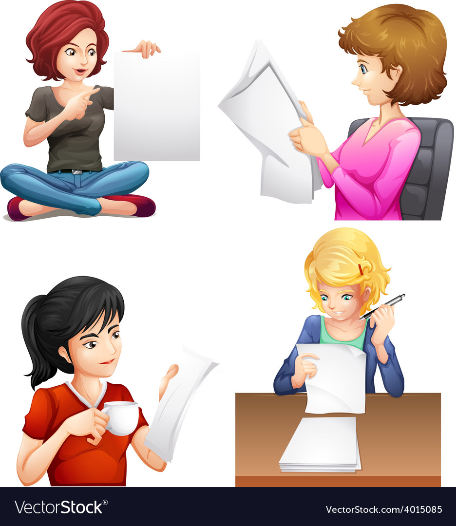 Four busy females vector | Price: 3 Credit (USD $3)