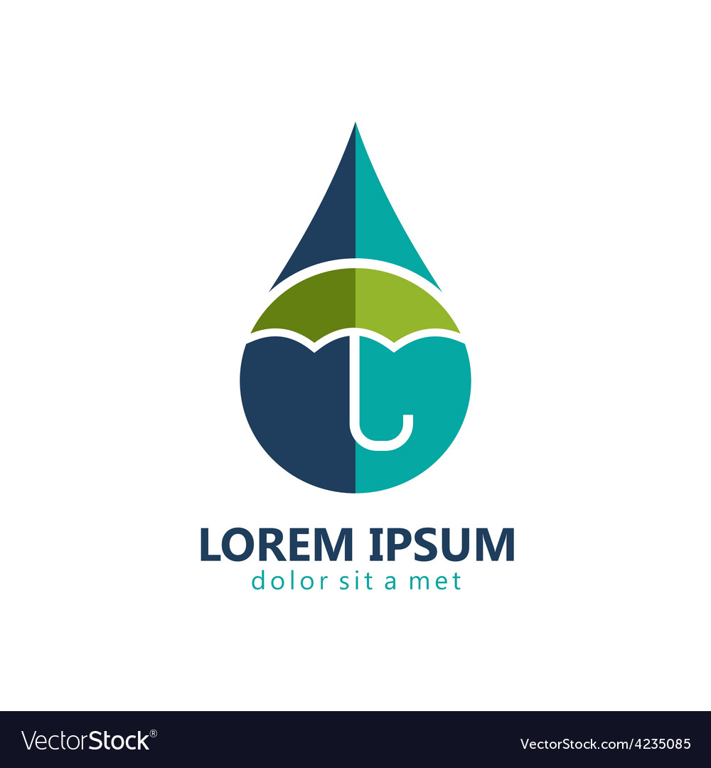 Water drop protection umbrella logo vector | Price: 1 Credit (USD $1)