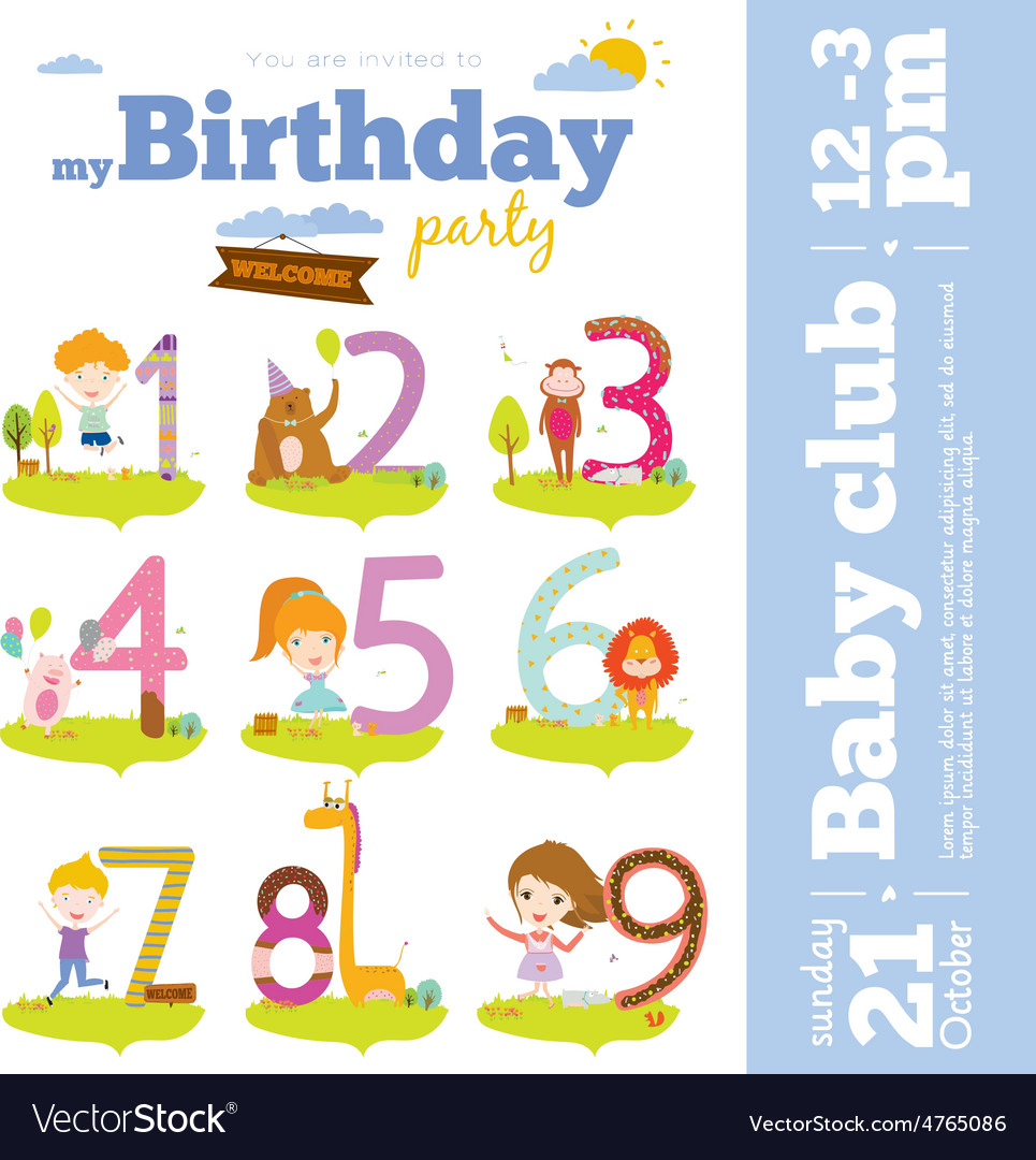 Birthday anniversary numbers with cute animals and vector | Price: 1 Credit (USD $1)