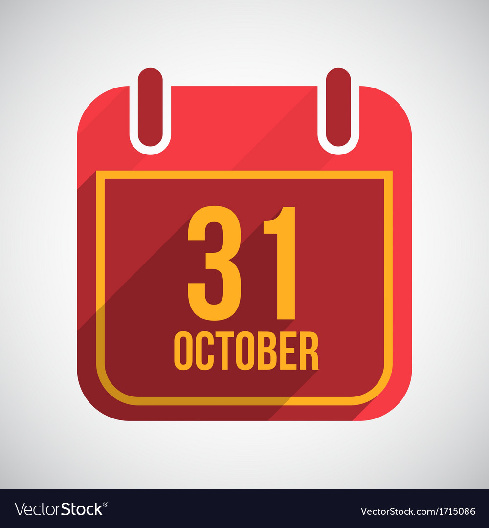 Calendar 31 october flat calendar icon with long vector | Price: 1 Credit (USD $1)