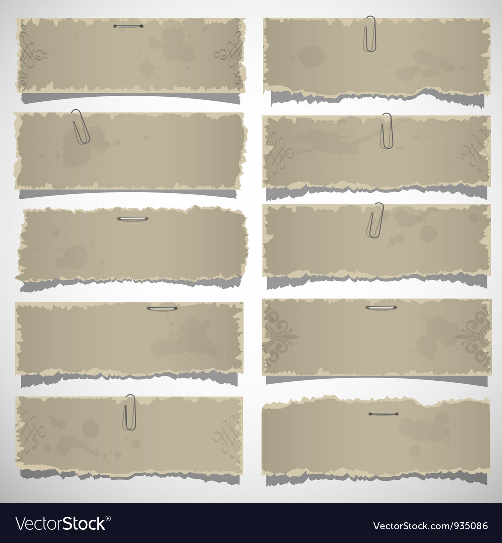 Collection of old note papers vector | Price: 1 Credit (USD $1)