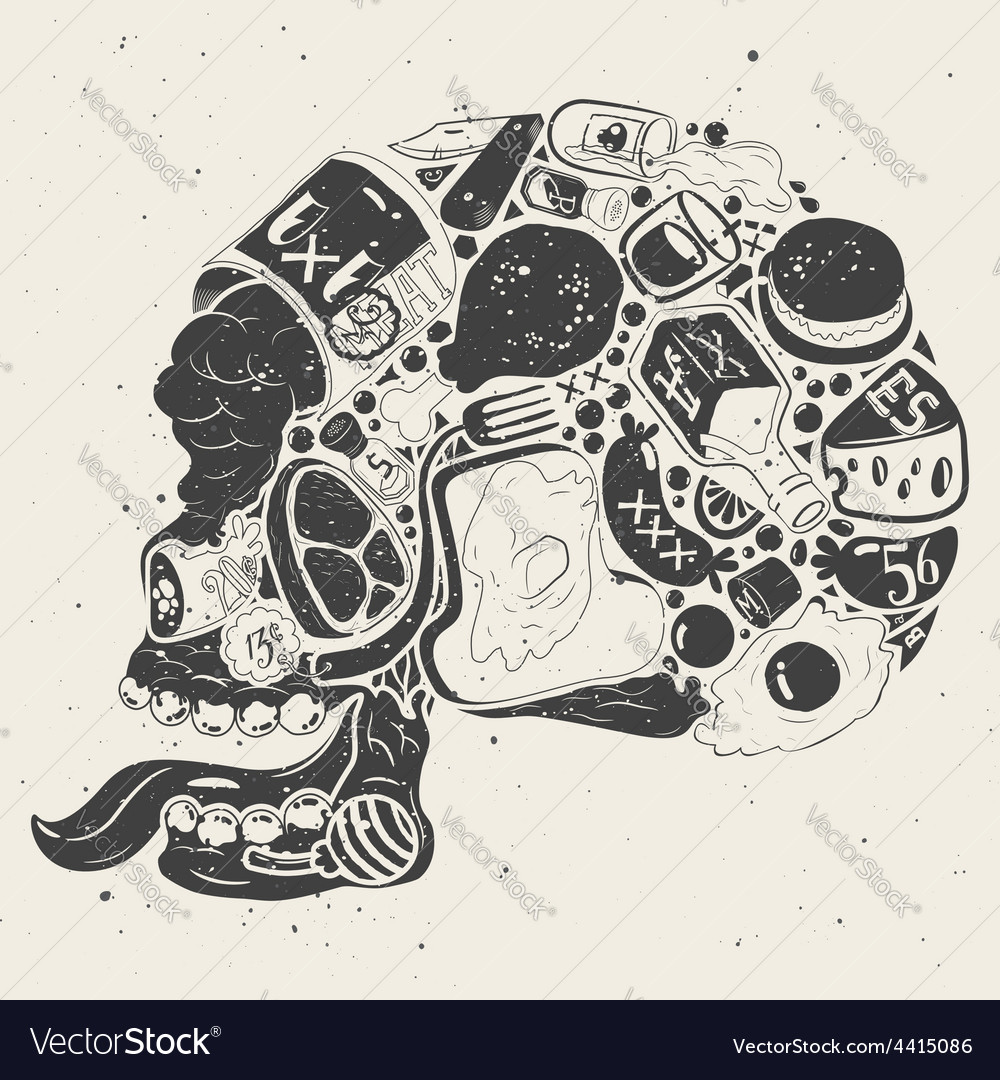 Figure skull of food collage vector | Price: 1 Credit (USD $1)