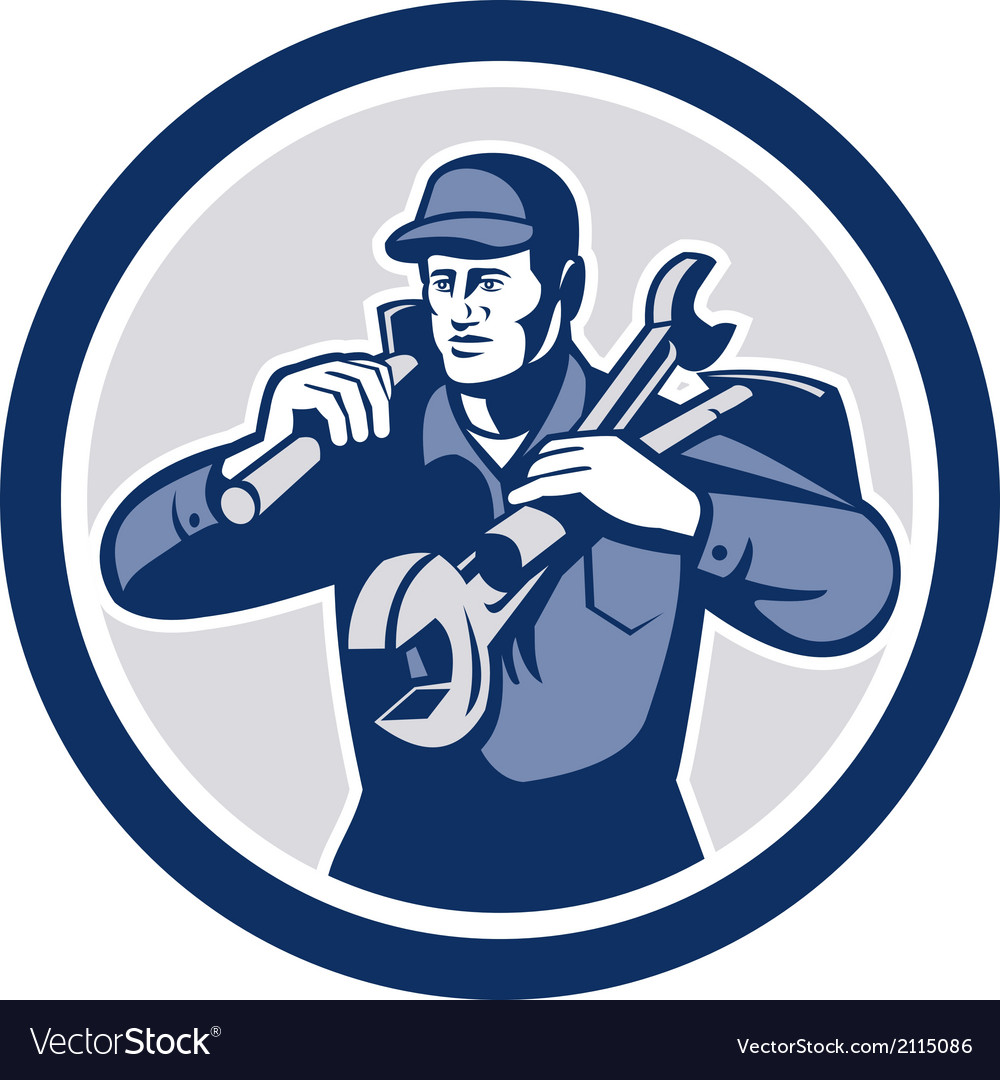 Handyman repairman spanner wrench spade retro vector | Price: 1 Credit (USD $1)