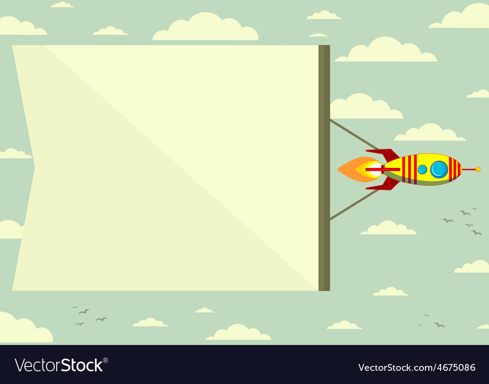 Rocket with a banner in the sky vector | Price: 1 Credit (USD $1)