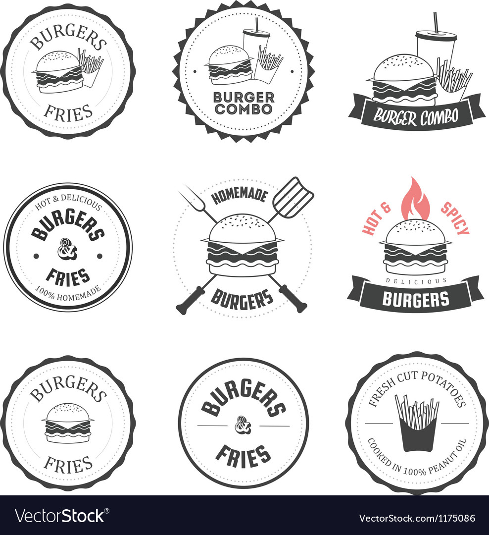 Set of burger and fries restaurant design elements vector | Price: 1 Credit (USD $1)