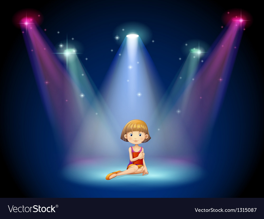 A girl acting on the stage with spotlights vector | Price: 1 Credit (USD $1)