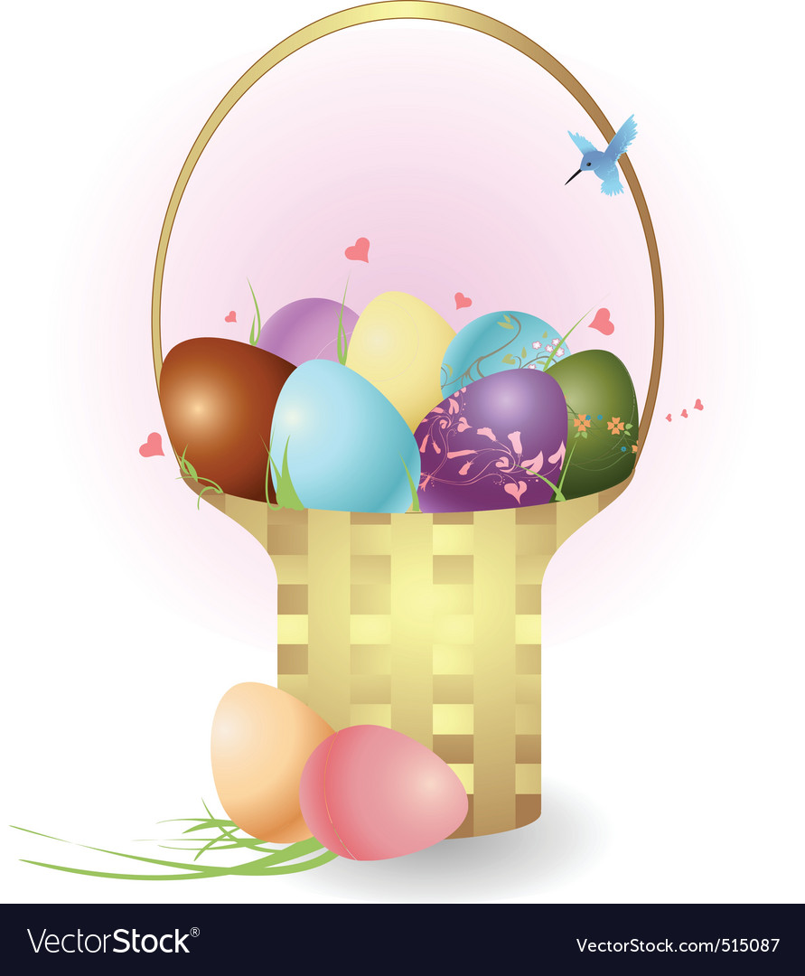 Basket with easter eggs vector | Price: 1 Credit (USD $1)