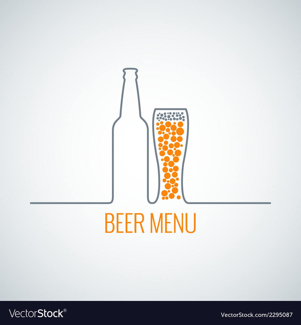 Beer bottle glass menu background vector | Price: 1 Credit (USD $1)