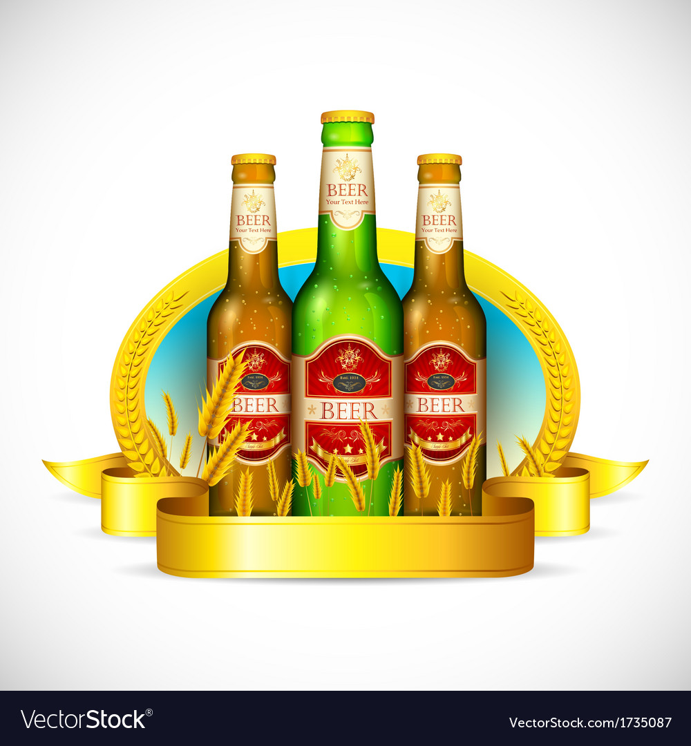 Beer bottle with barley vector   Price: 3 Credit (USD $3)