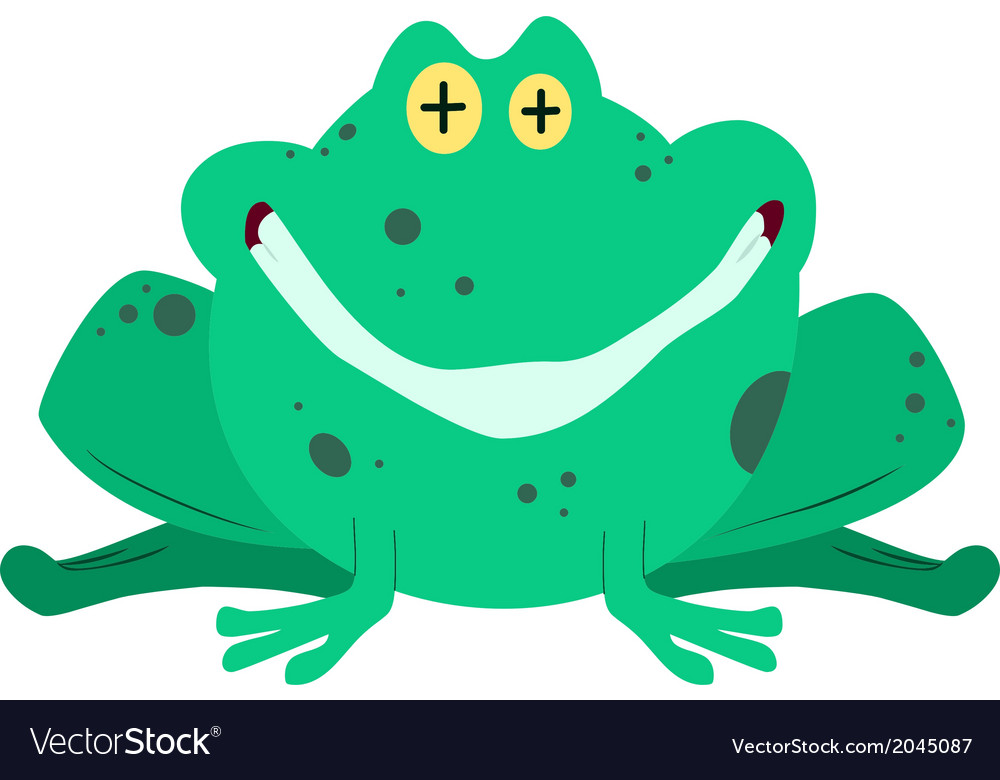 Green frog smiling vector | Price: 1 Credit (USD $1)