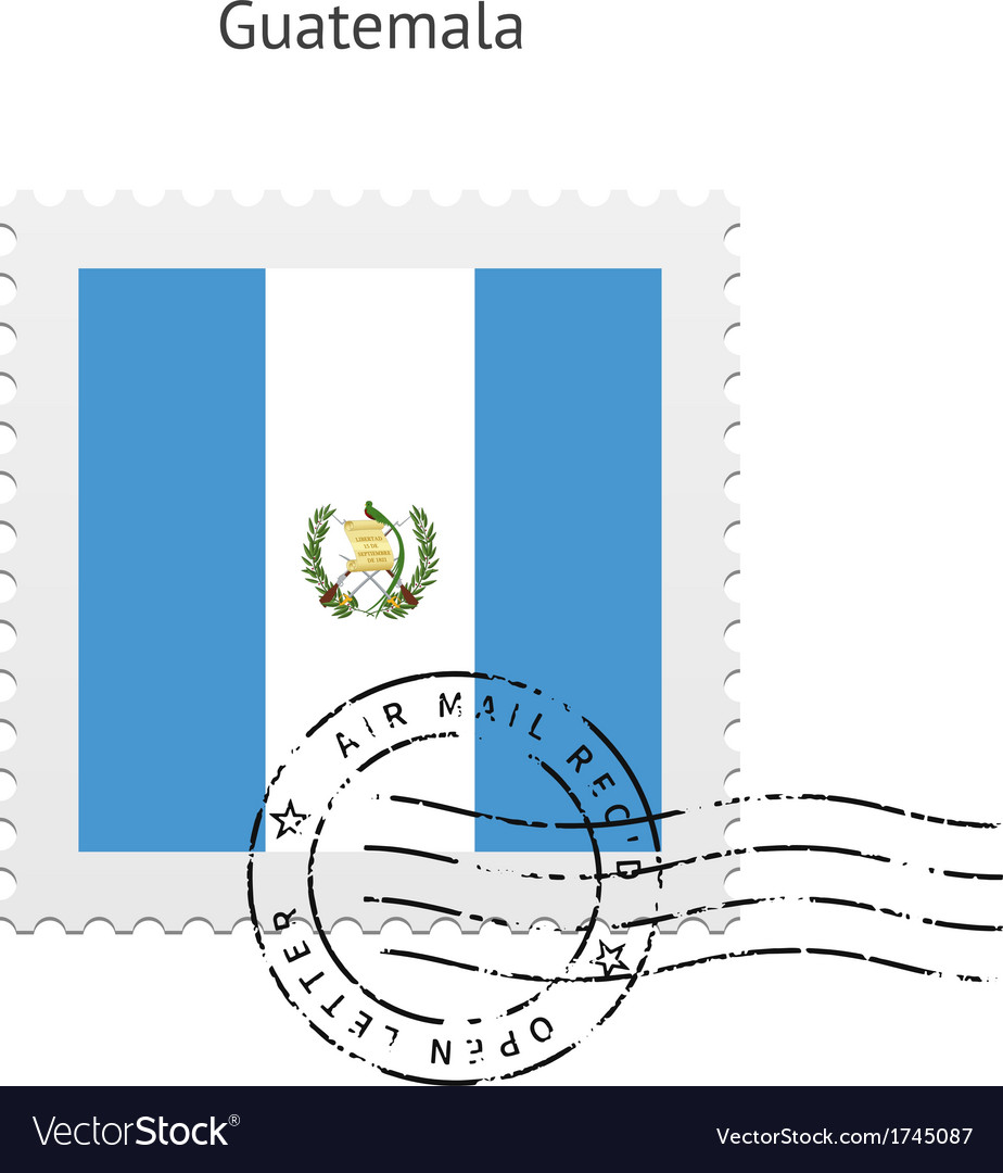 Guatemala flag postage stamp vector | Price: 1 Credit (USD $1)