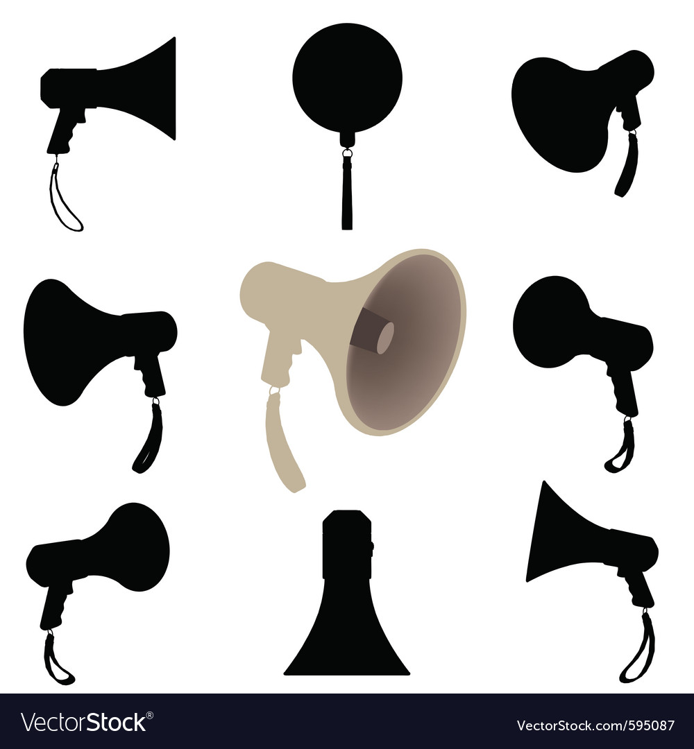 Megaphone silhouette vector | Price: 1 Credit (USD $1)