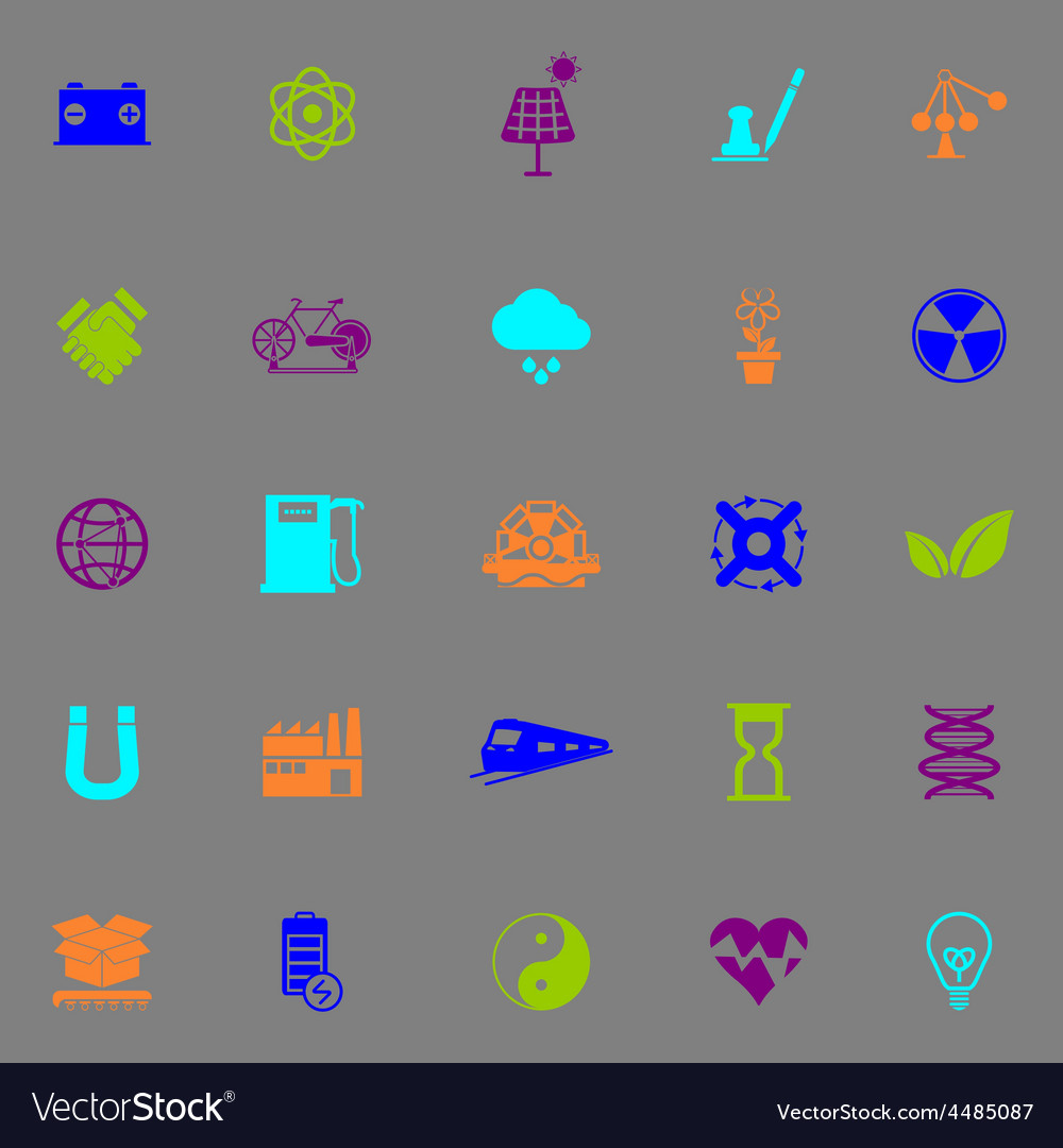 Renewable energy icons fluorescent color on gray vector | Price: 1 Credit (USD $1)