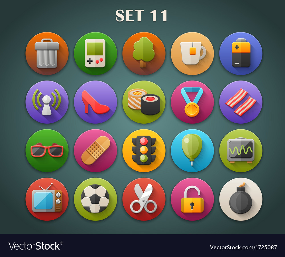 Round bright icons with long shadow set 11 vector | Price: 1 Credit (USD $1)