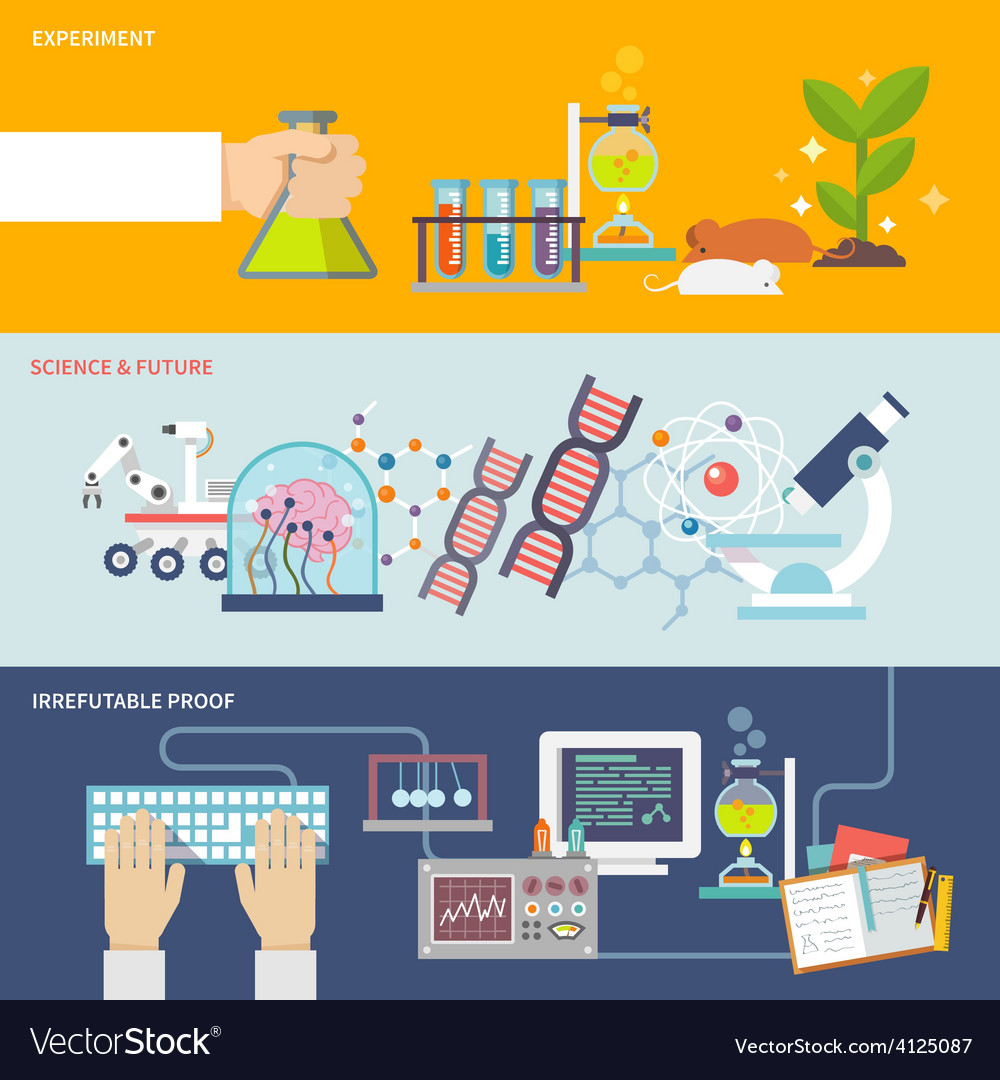 Science and research banner set vector | Price: 1 Credit (USD $1)