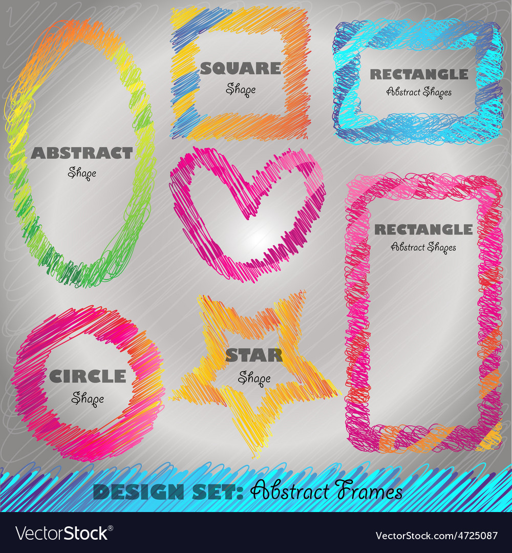 Set of colorful doodled frames vector | Price: 1 Credit (USD $1)