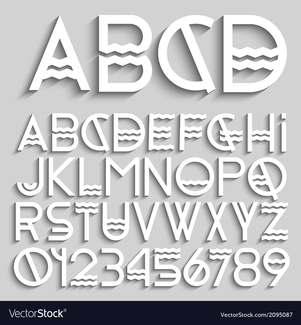 White original alphabet letters and numbers vector | Price: 1 Credit (USD $1)