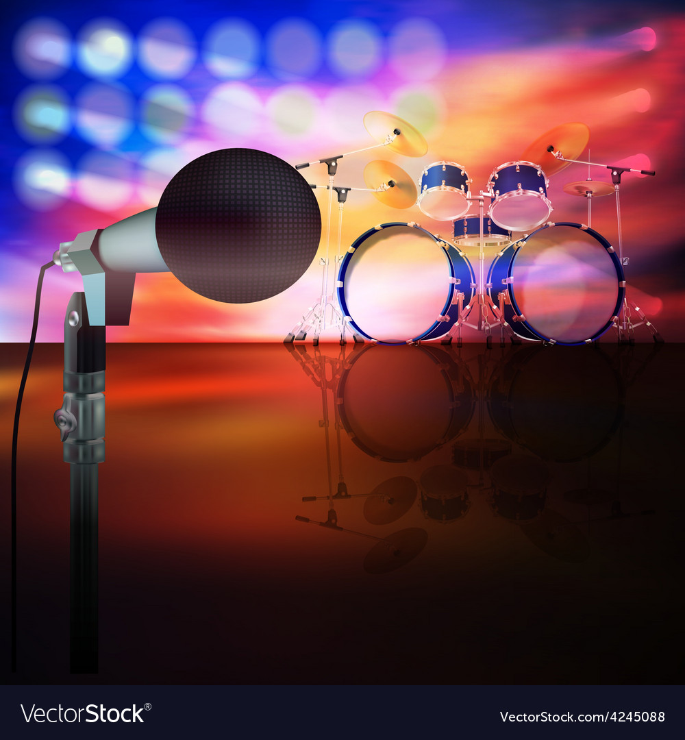 Abstract music background with drum kit and vector | Price: 3 Credit (USD $3)