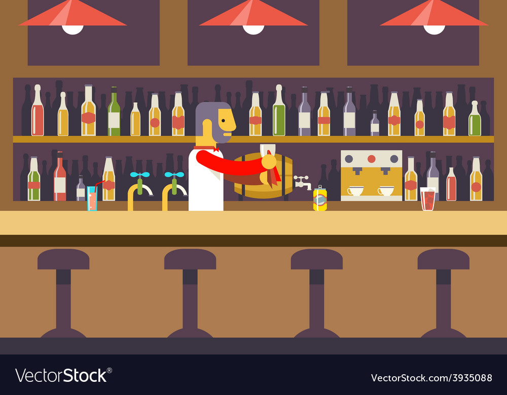 Bar restaurant cafe with barkeeper character vector | Price: 1 Credit (USD $1)