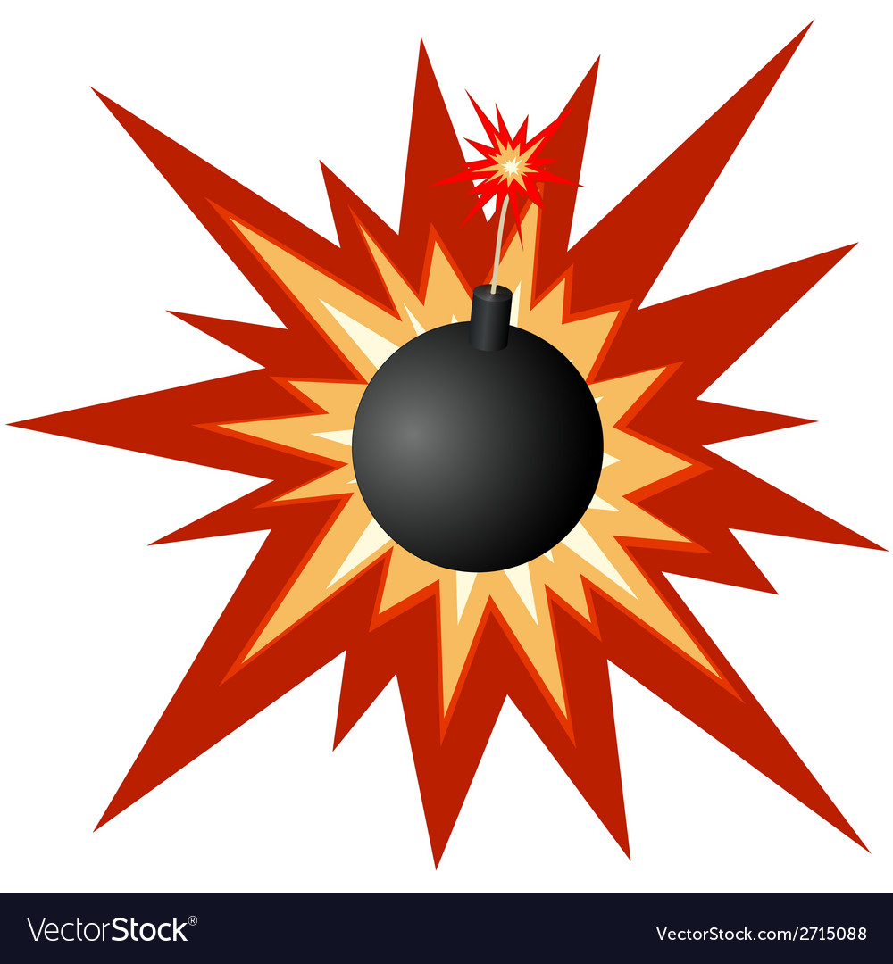 Bomb with a burning fuse vector | Price: 1 Credit (USD $1)