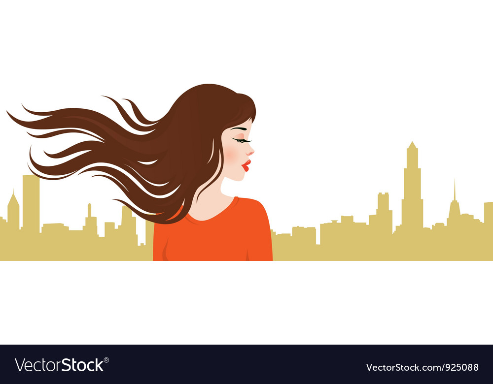Girl on the background of the city vector   Price: 1 Credit (USD $1)