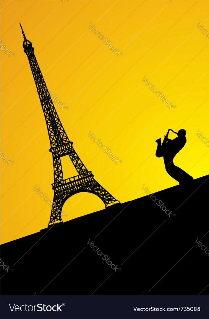 Jazz trumpeter in paris vector | Price: 1 Credit (USD $1)