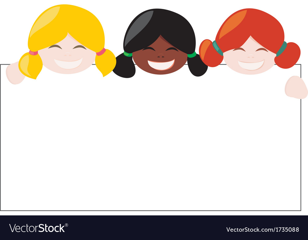 Mulicultural girls holding white empty banner vector | Price: 1 Credit (USD $1)
