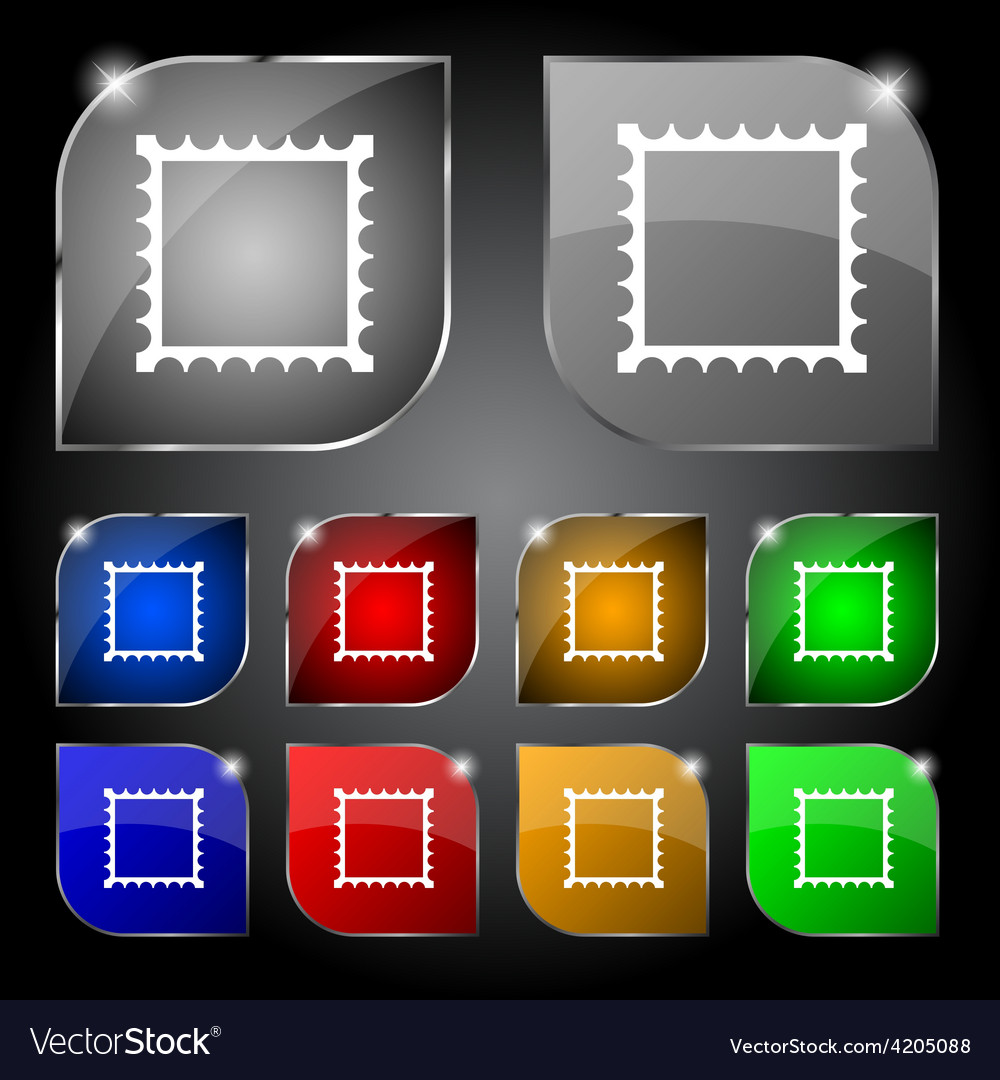 Photo frame template icon sign set of ten colorful vector | Price: 1 Credit (USD $1)