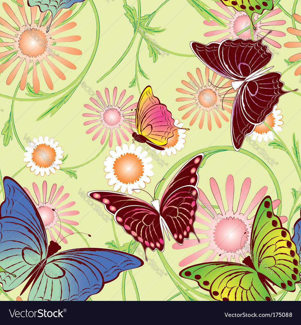 Springtime butterfly seamless pattern vector | Price:  Credit (USD $)