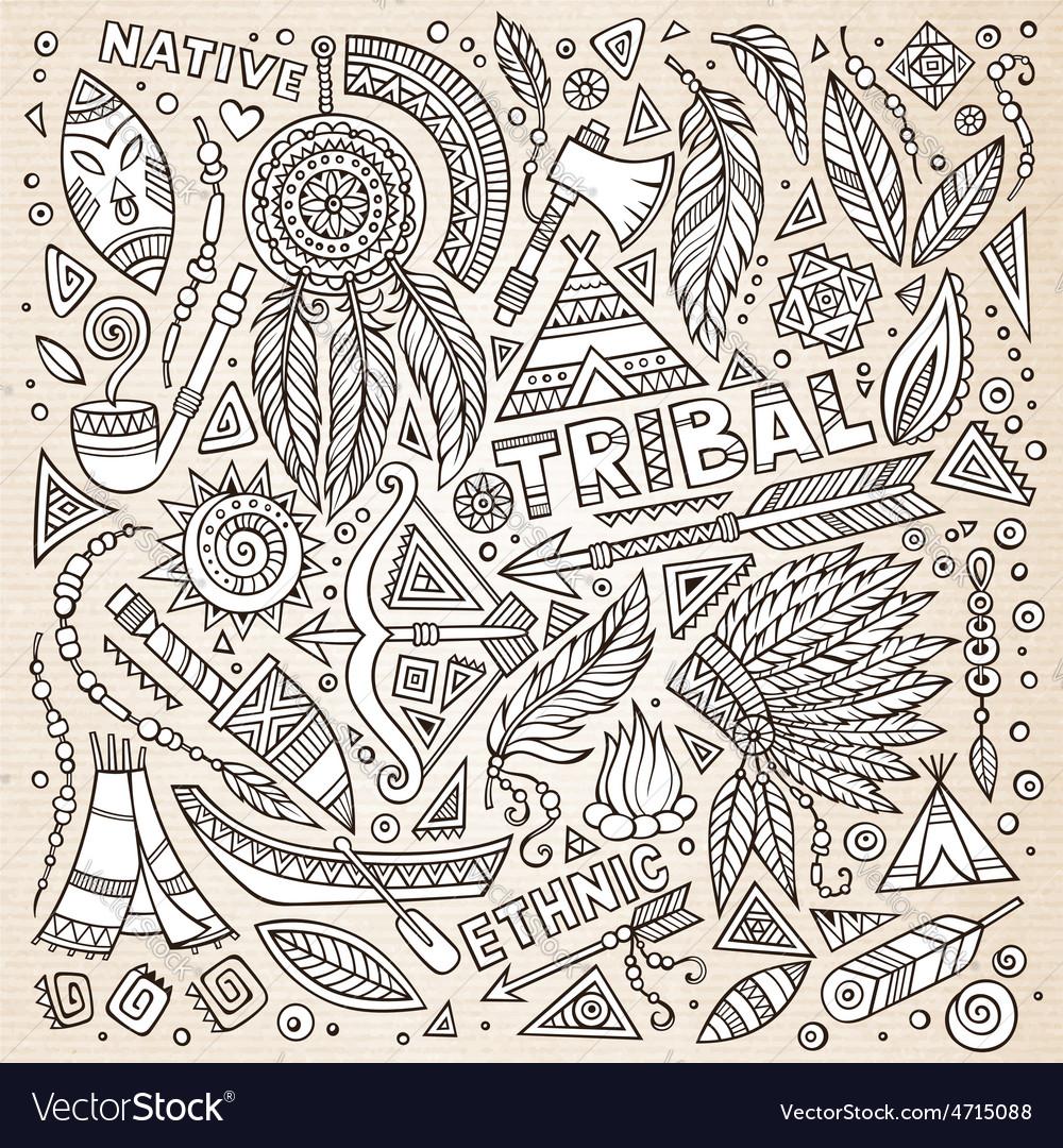 Tribal native american sketch set of symbols vector | Price: 1 Credit (USD $1)
