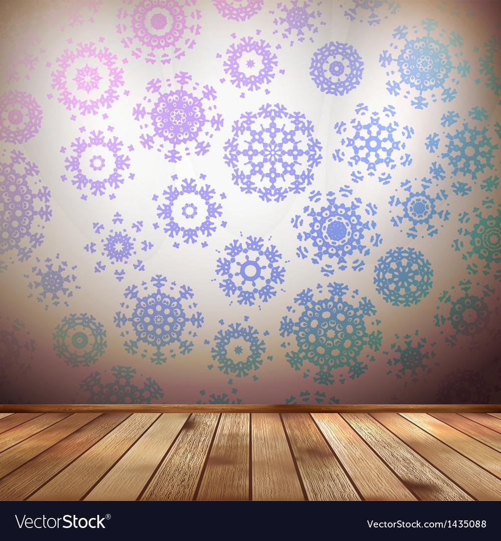 Winter interior walls decorated snowflakes eps 10 vector | Price: 1 Credit (USD $1)