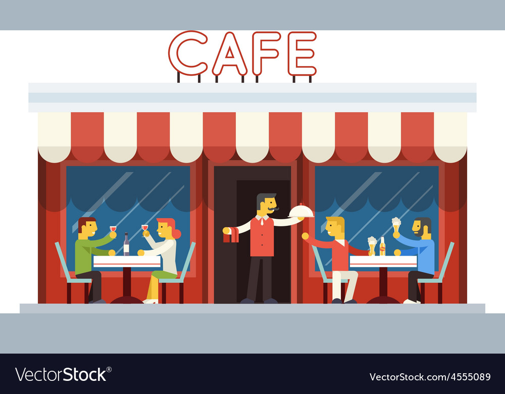 Cafe building facade customer people eating vector   Price: 3 Credit (USD $3)