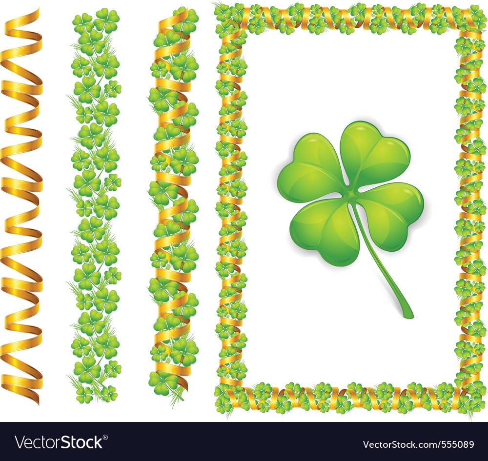 Clover leaves and gold ribbons vector | Price: 1 Credit (USD $1)