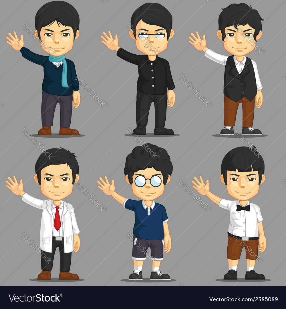 Man cartoon character set vector | Price: 1 Credit (USD $1)