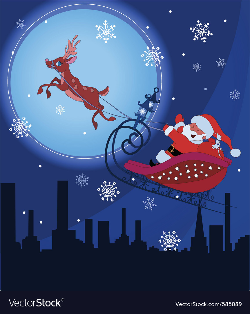Santa claus and rudolf in christmas night vector | Price: 1 Credit (USD $1)