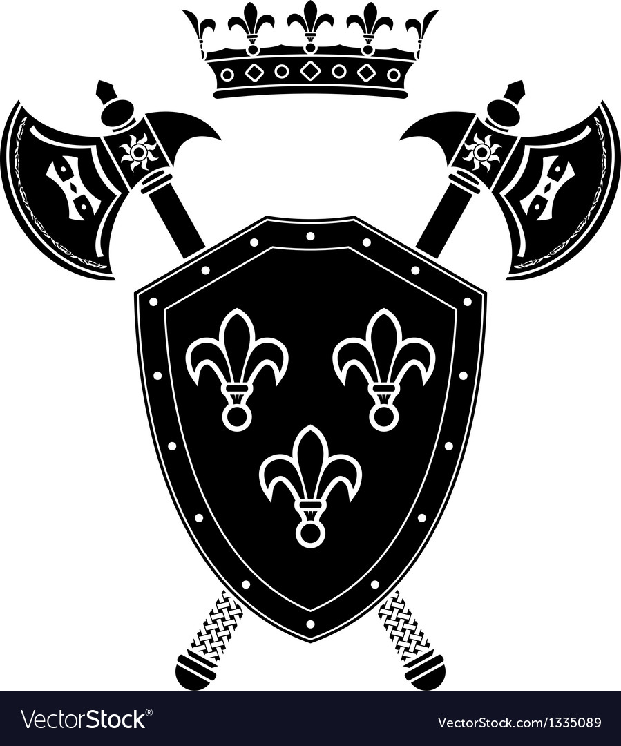 Shield axes and crown stencil vector | Price: 1 Credit (USD $1)