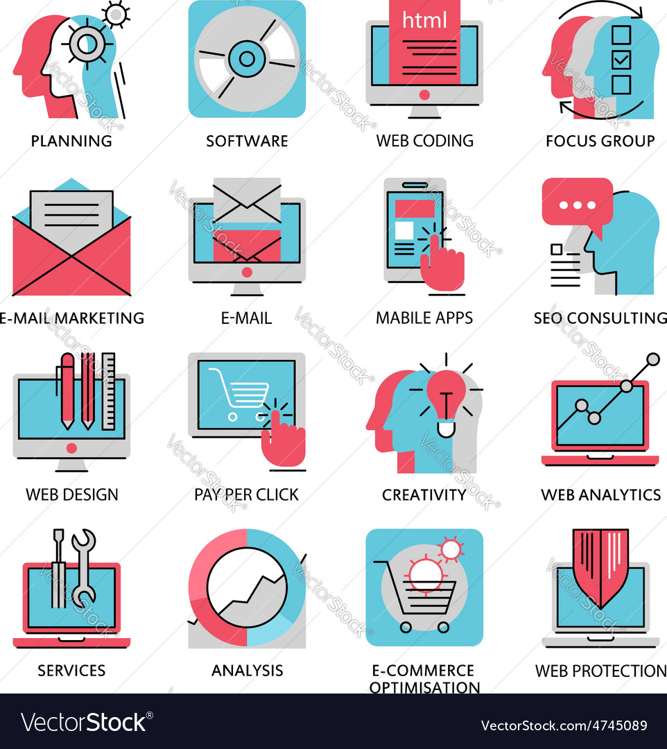 Thin line icons of media marketing advertising vector