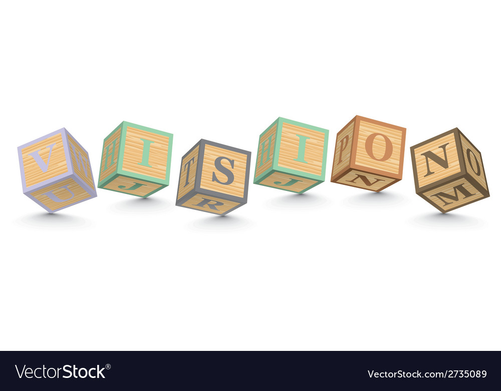 Word vision written with alphabet blocks vector | Price: 1 Credit (USD $1)