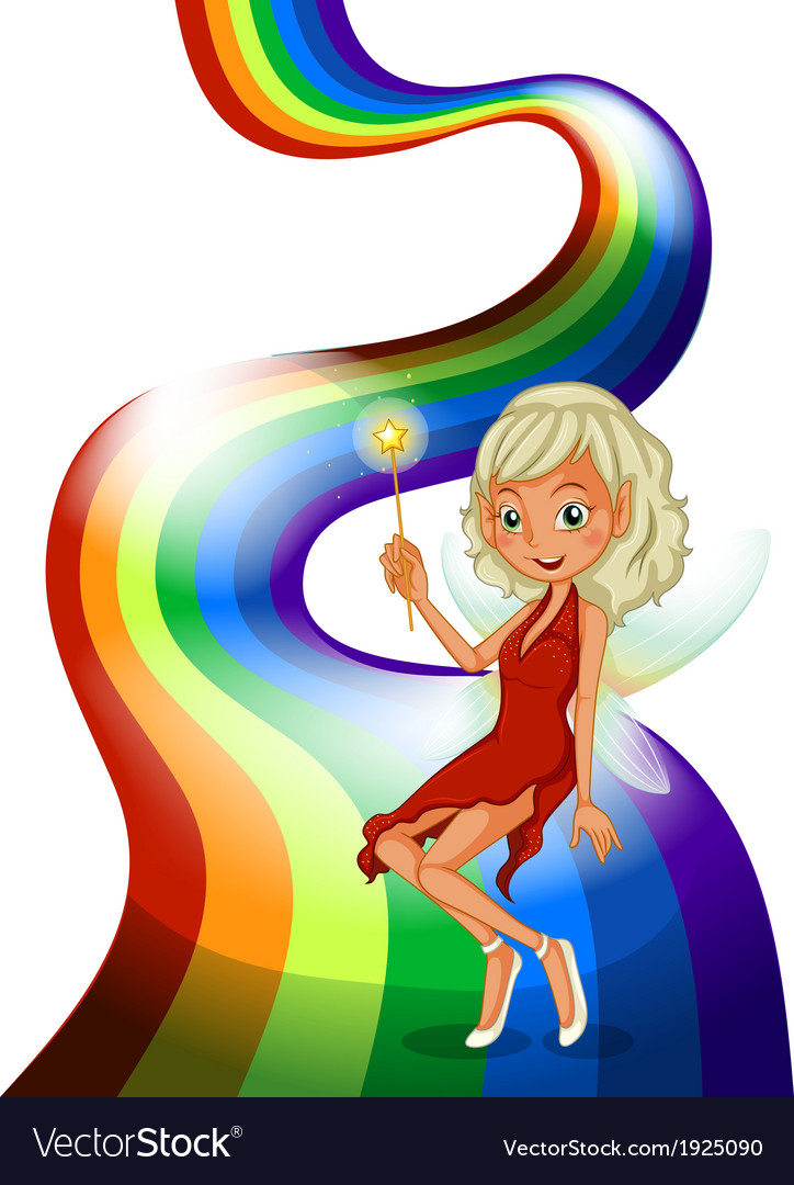 A smiling fairy above the rainbow vector | Price: 3 Credit (USD $3)