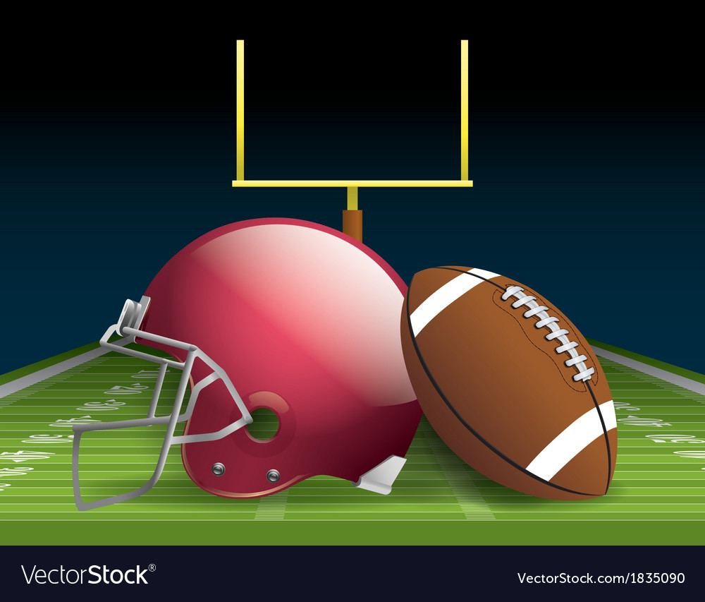 American football and helmet on field vector | Price: 1 Credit (USD $1)