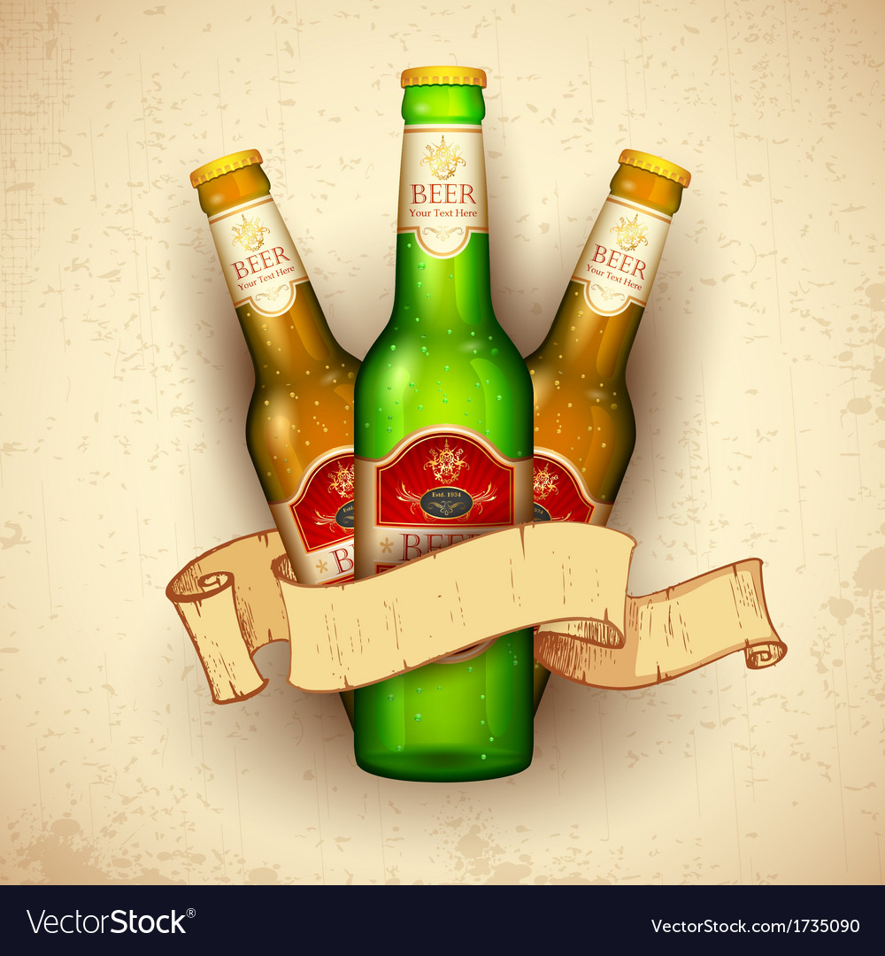 Beer bottle with ribbon vector | Price: 1 Credit (USD $1)