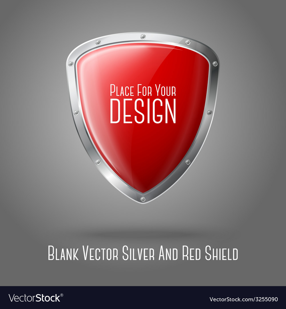 Blank red realistic glossy shield with silver vector | Price: 1 Credit (USD $1)