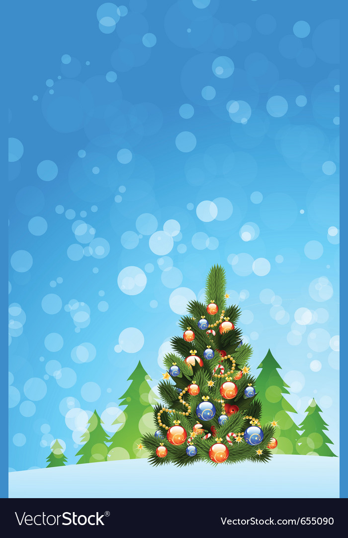 Christmas card with fir-tree vector | Price: 1 Credit (USD $1)