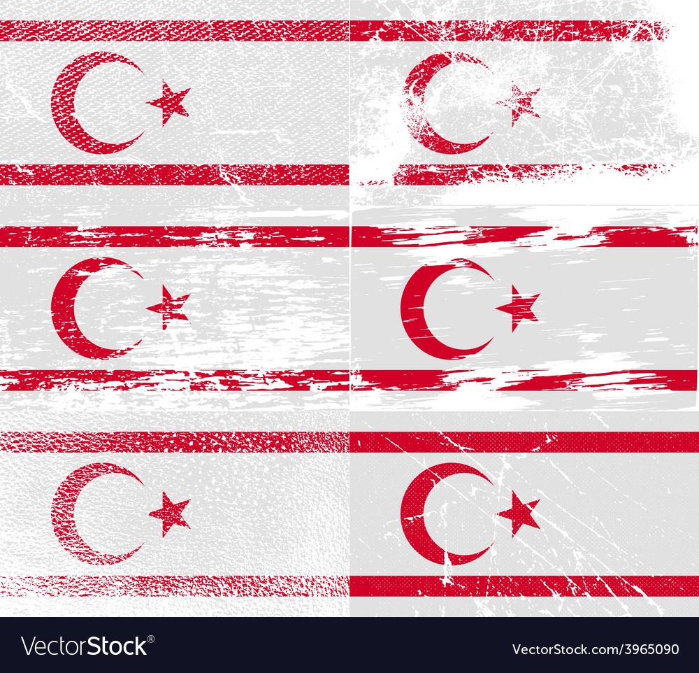 Flag of turkish northern cyprus with old texture vector | Price: 1 Credit (USD $1)