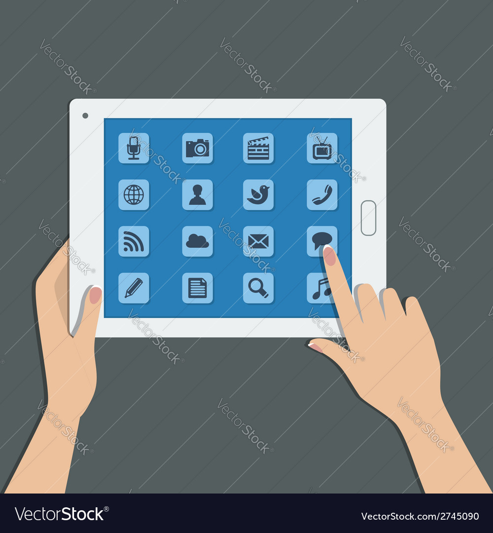 Tablet pc with social media icons vector | Price: 1 Credit (USD $1)